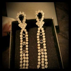 Vintage Crystal Rhinestone Chandelier Earrings